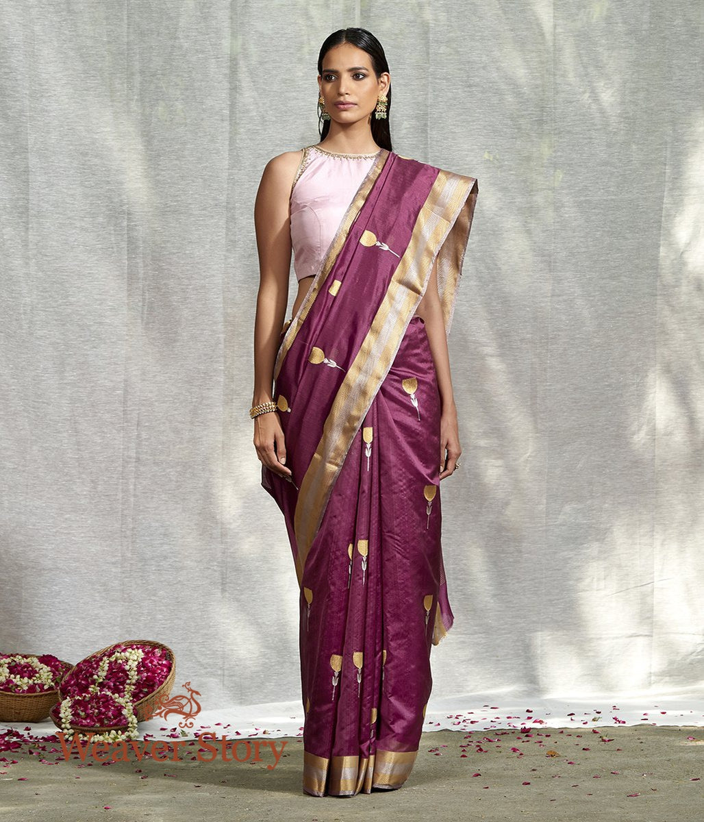 Handwoven Wine Floral Boota Saree with Gold Silver Chevron Border