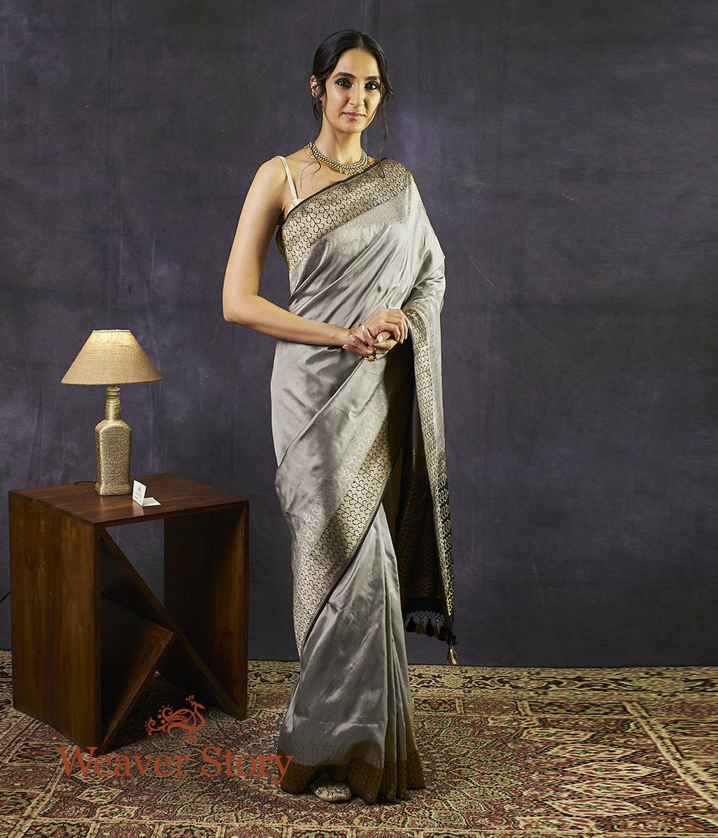 Handwoven Grey Tanchoi Saree with Tree Border