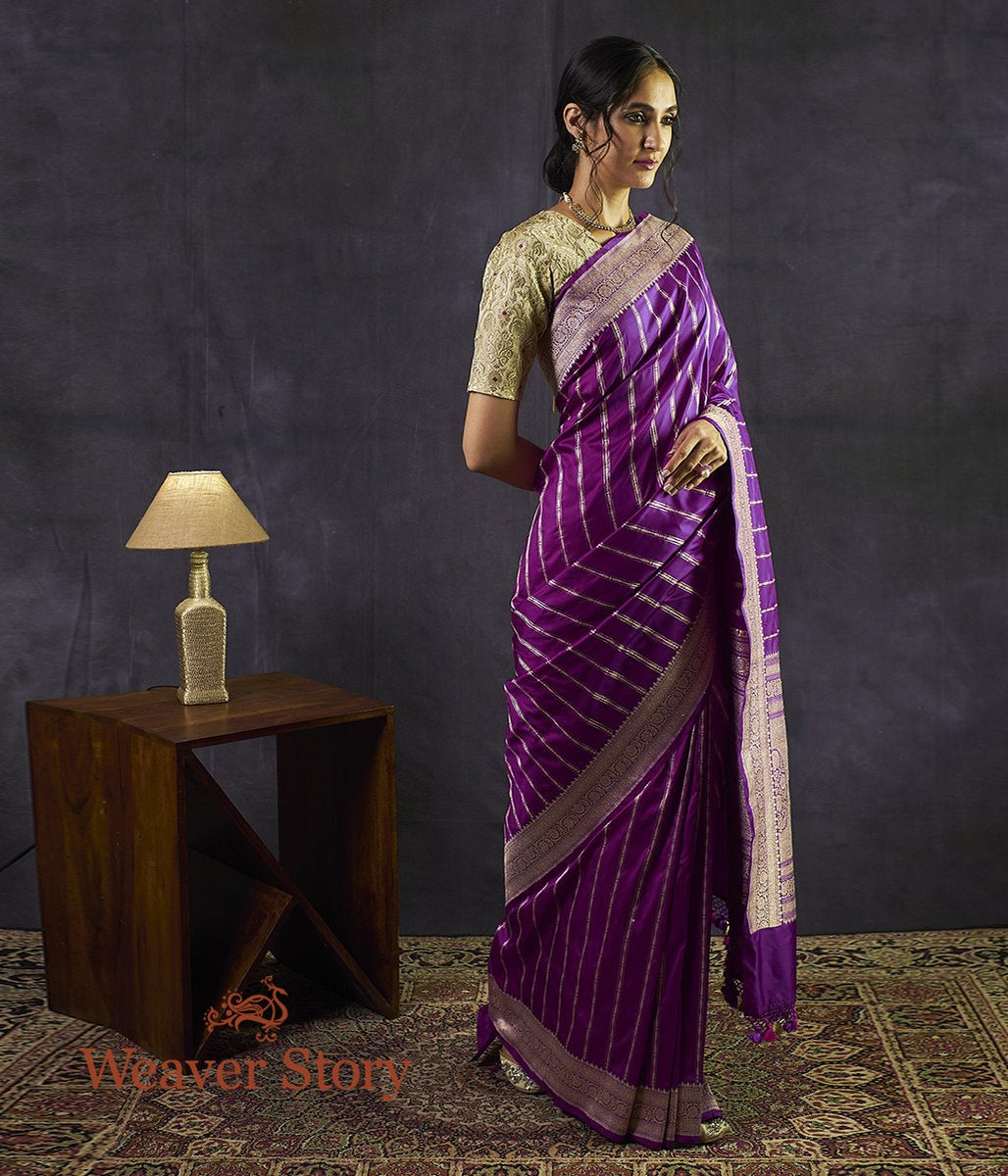 Handwoven Purple Banarasi Saree with Zari Stripes