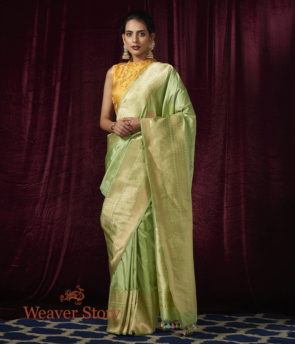 Handwoven Light Green Kadhwa Saree with Meenakari Boota