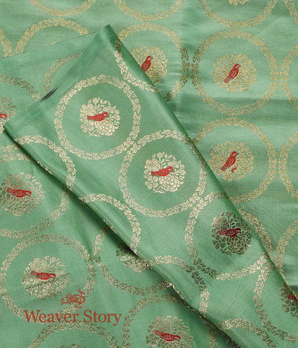 Handwoven Green Pure Satin Fabric with Bird Motifs