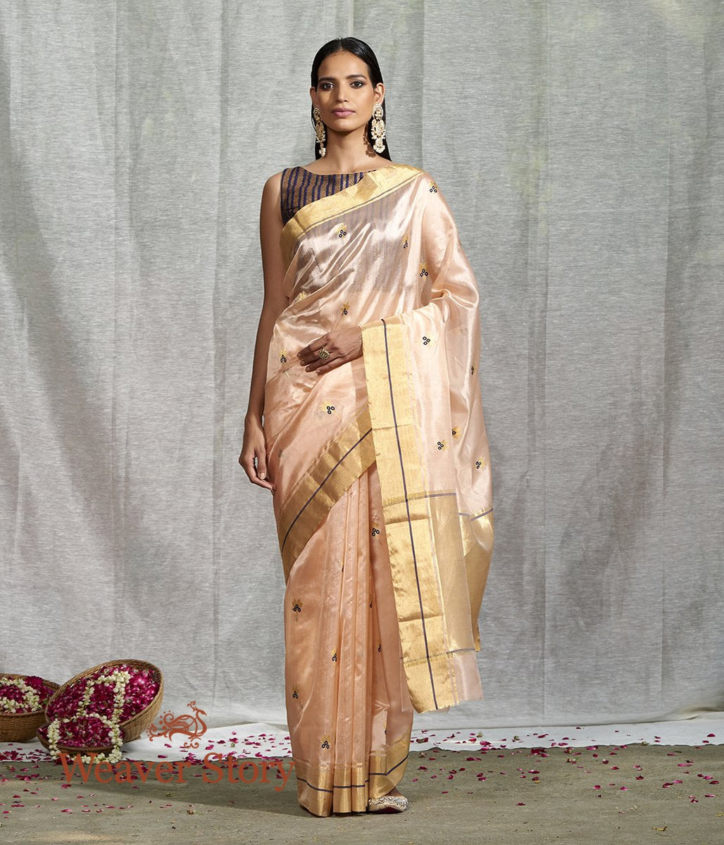 Handwoven Light Peach Floral Booti Saree with Blue Meenakari