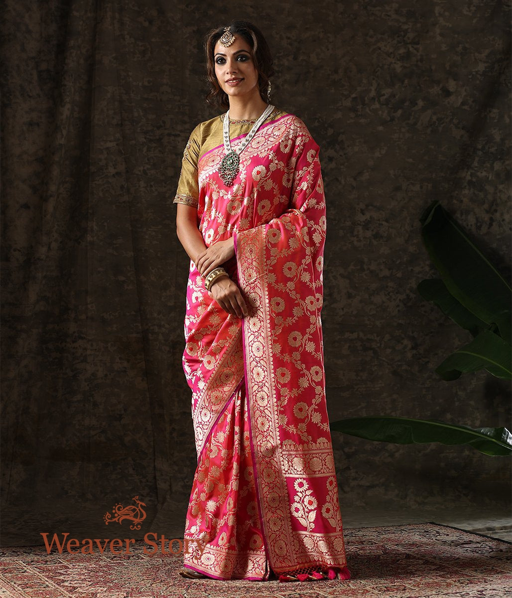 Handwoven Pink Orange Shot Color Meenakari Jangla Saree