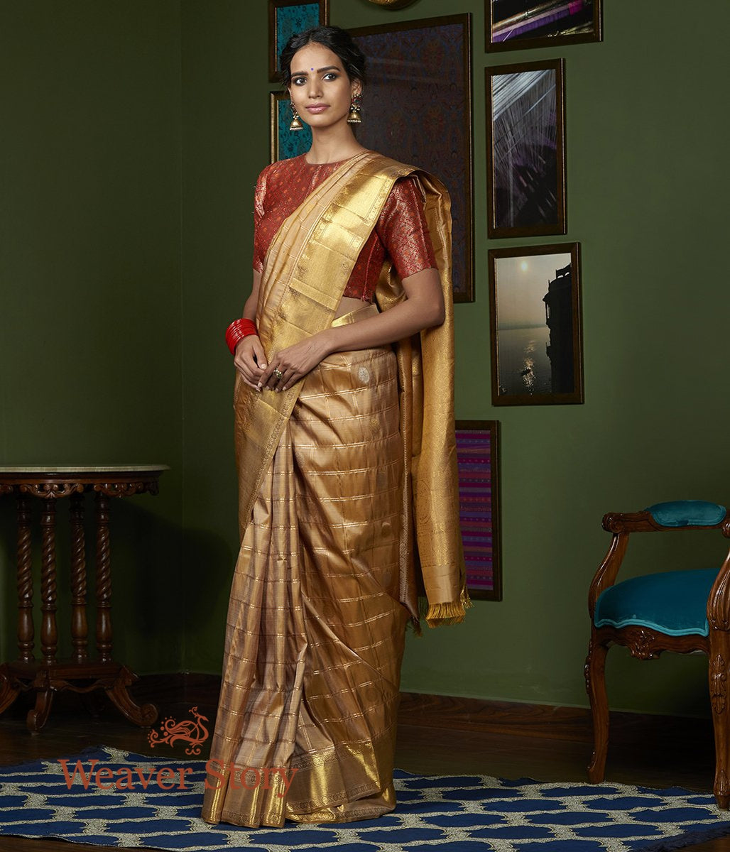 Handwoven Gold Kanjivaram Silk Saree