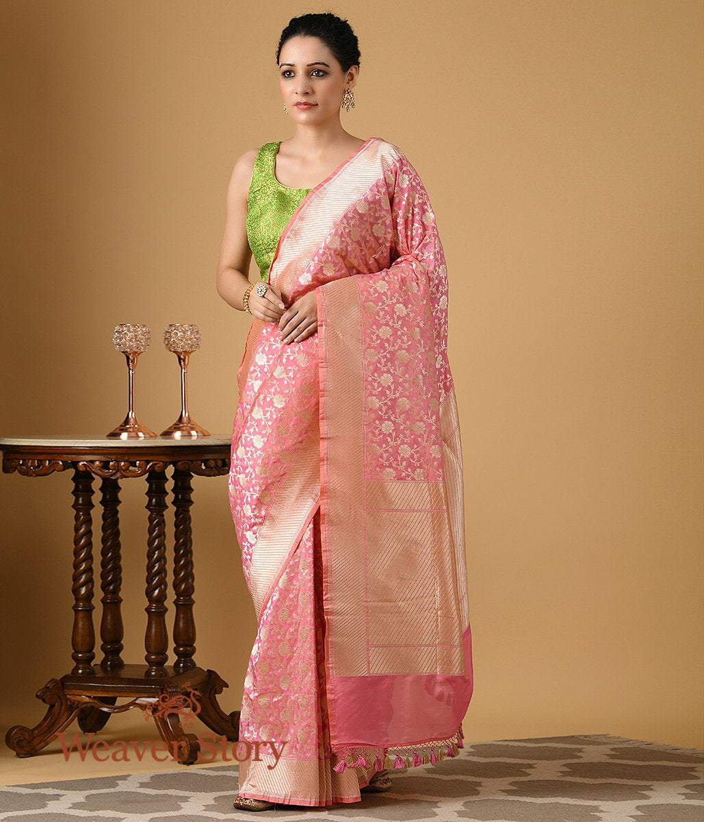 Handwoven Light Pink Floral Jangla Saree