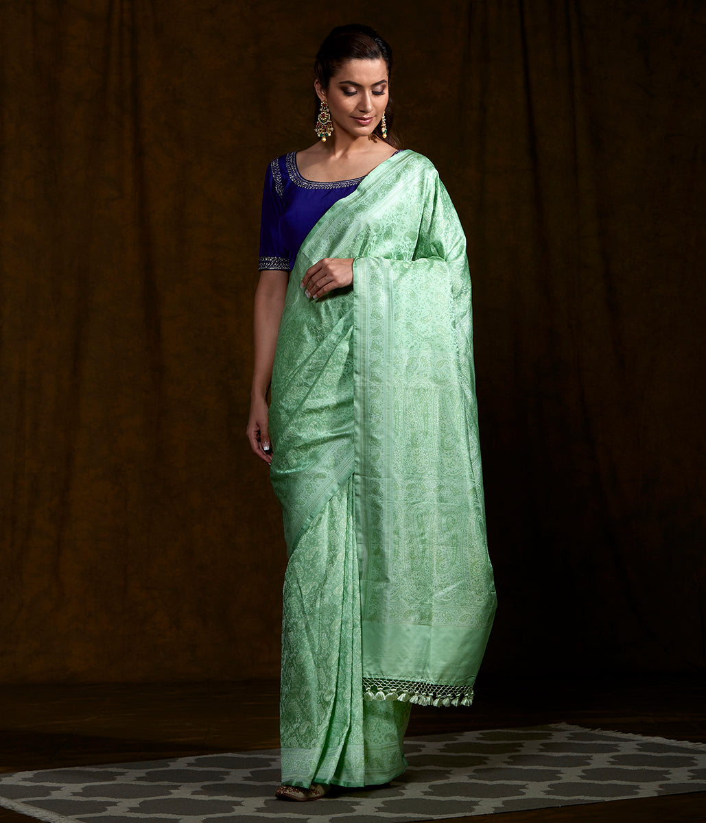 Handwoven Mint Green Jamawar Saree