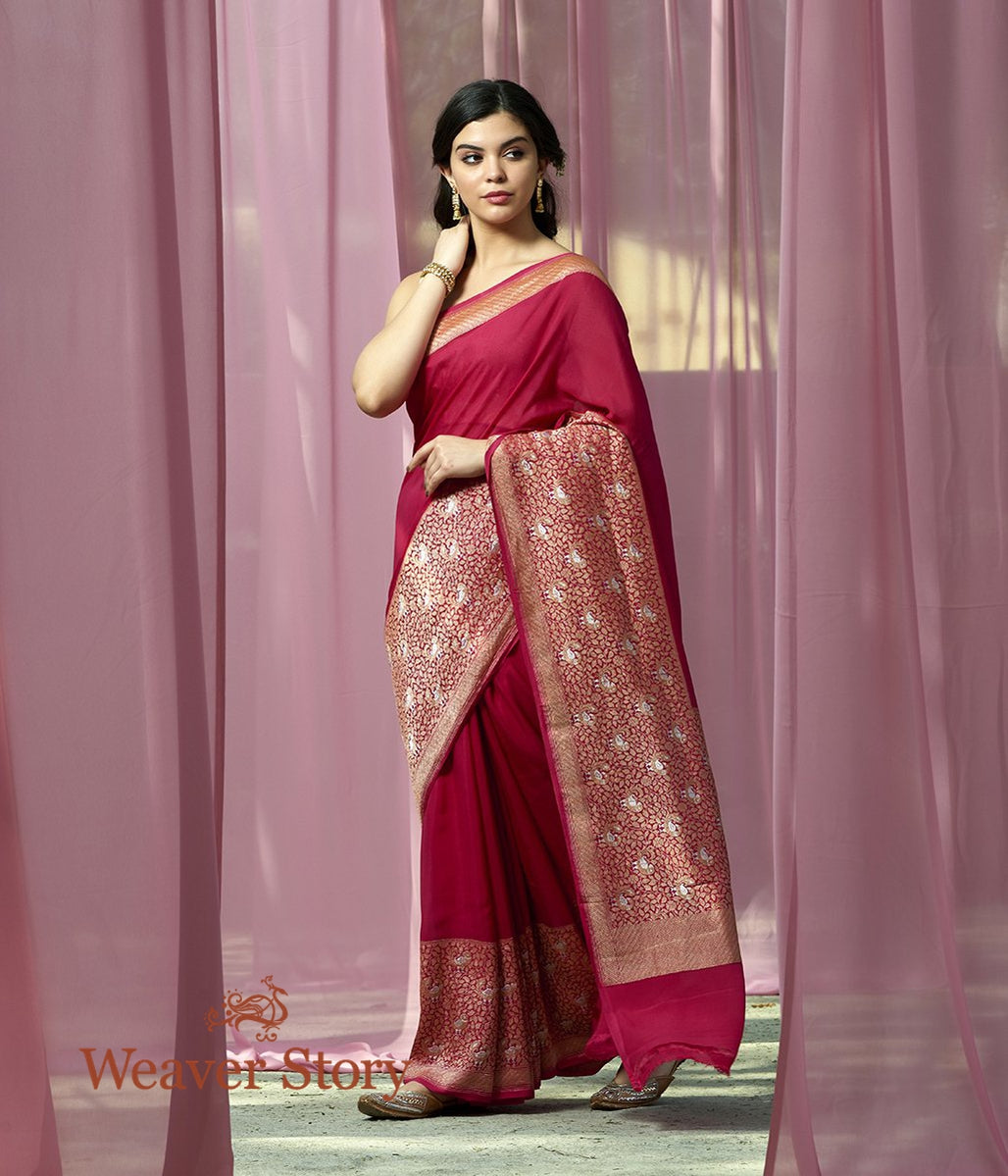 Handwoven Pink Banarasi Georgette Saree with Birds Woven on the Border