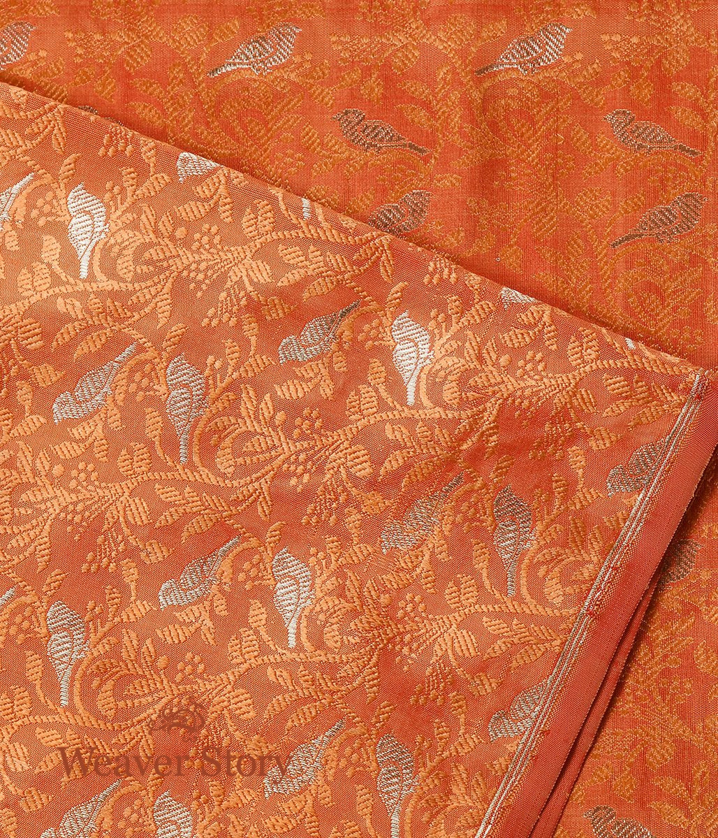 Handwoven Orange Bird Motif Tanchoi Fabric