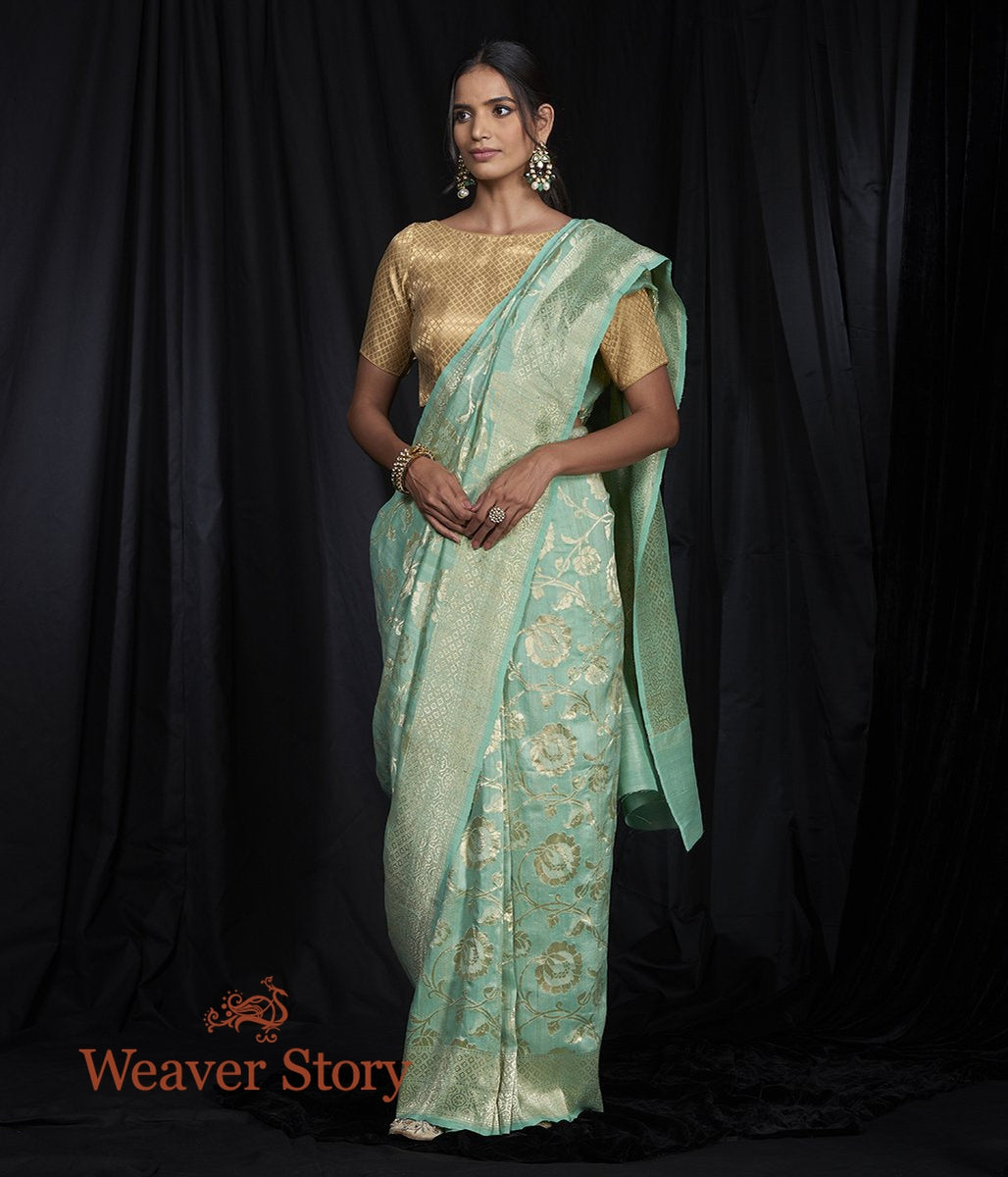 Handwoven Tusser Georgette Saree with Cutwork Floral Jaal