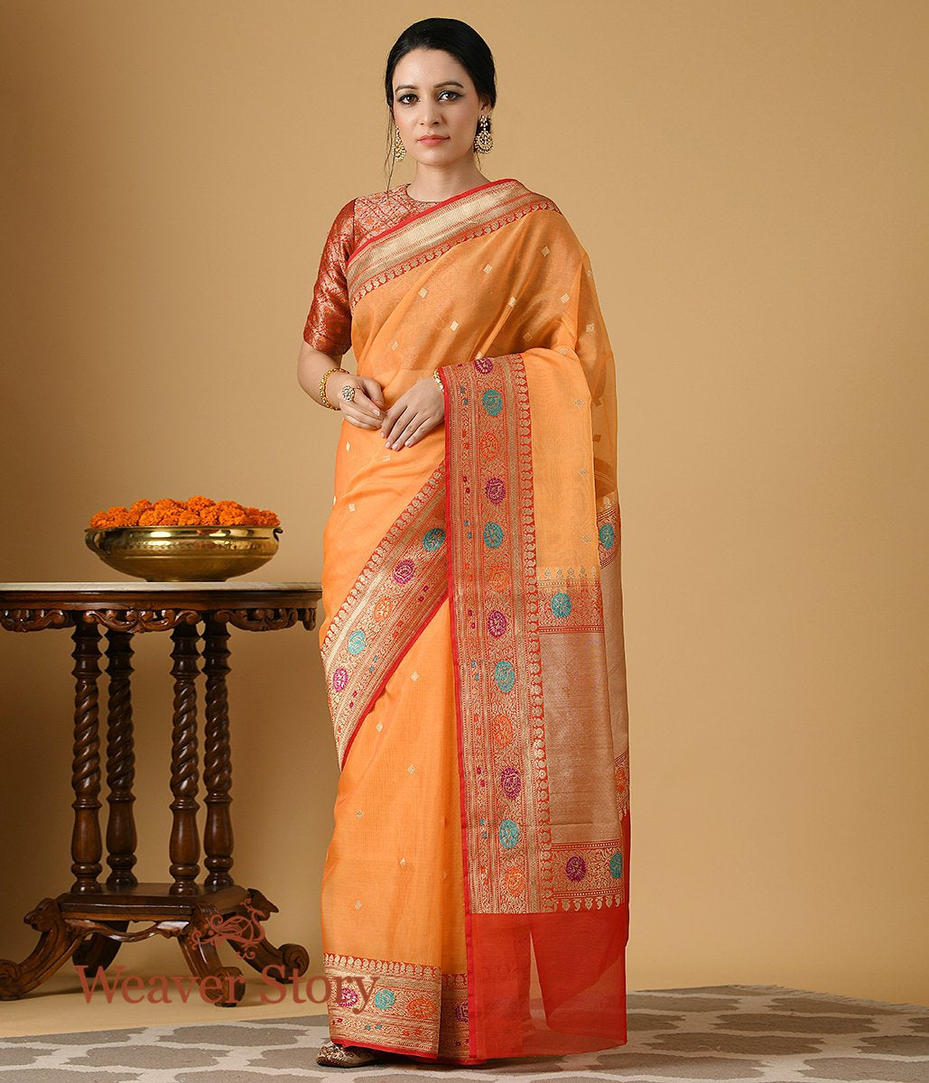Handwoven Orange and Red Meenakari Border Organza Saree