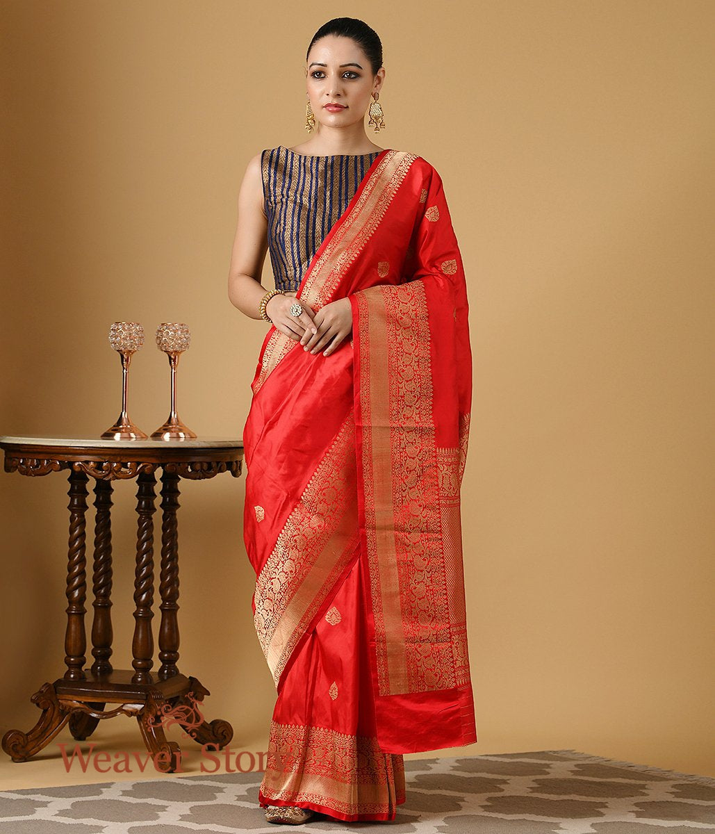 Handwoven Red Katan Silk Saree with a Gold Zari Border