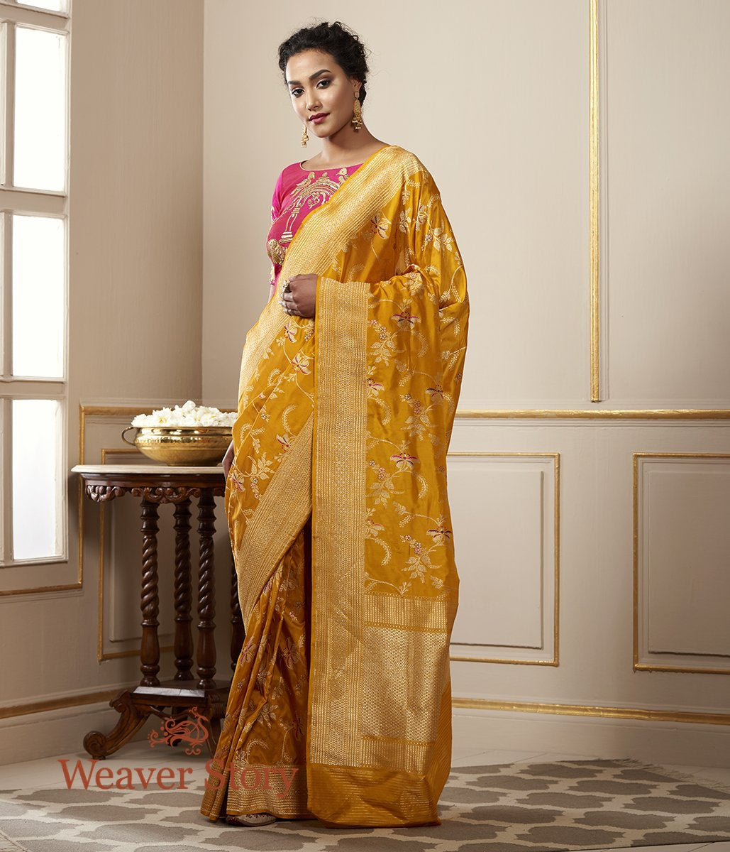 Handwoven Mustard Katan Silk Jangla Saree with Meenakari