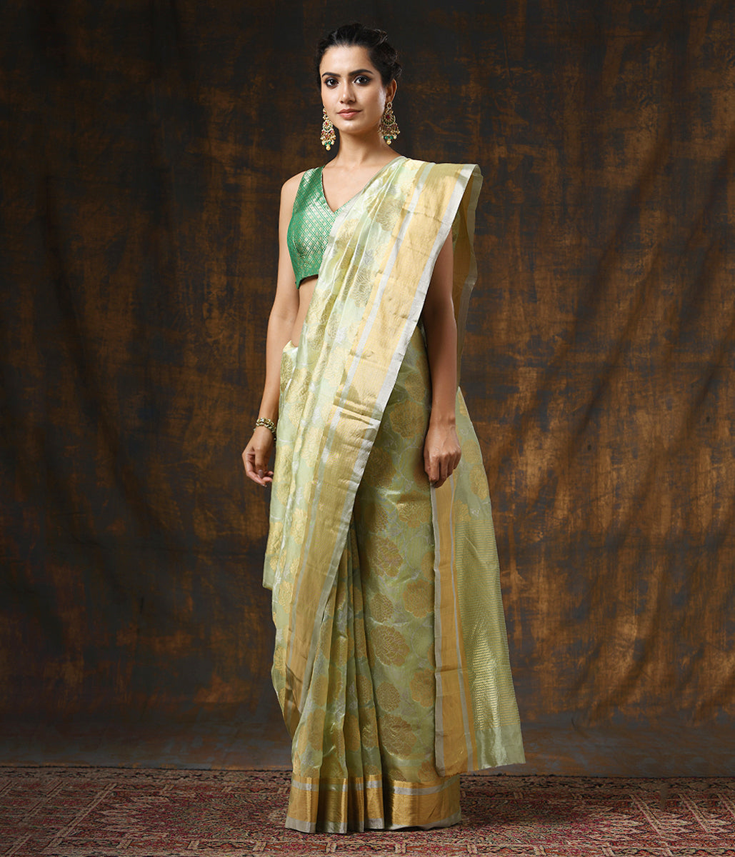 Handwoven Light Green Chanderi Silk saree with Gold and Silver Zari jaal