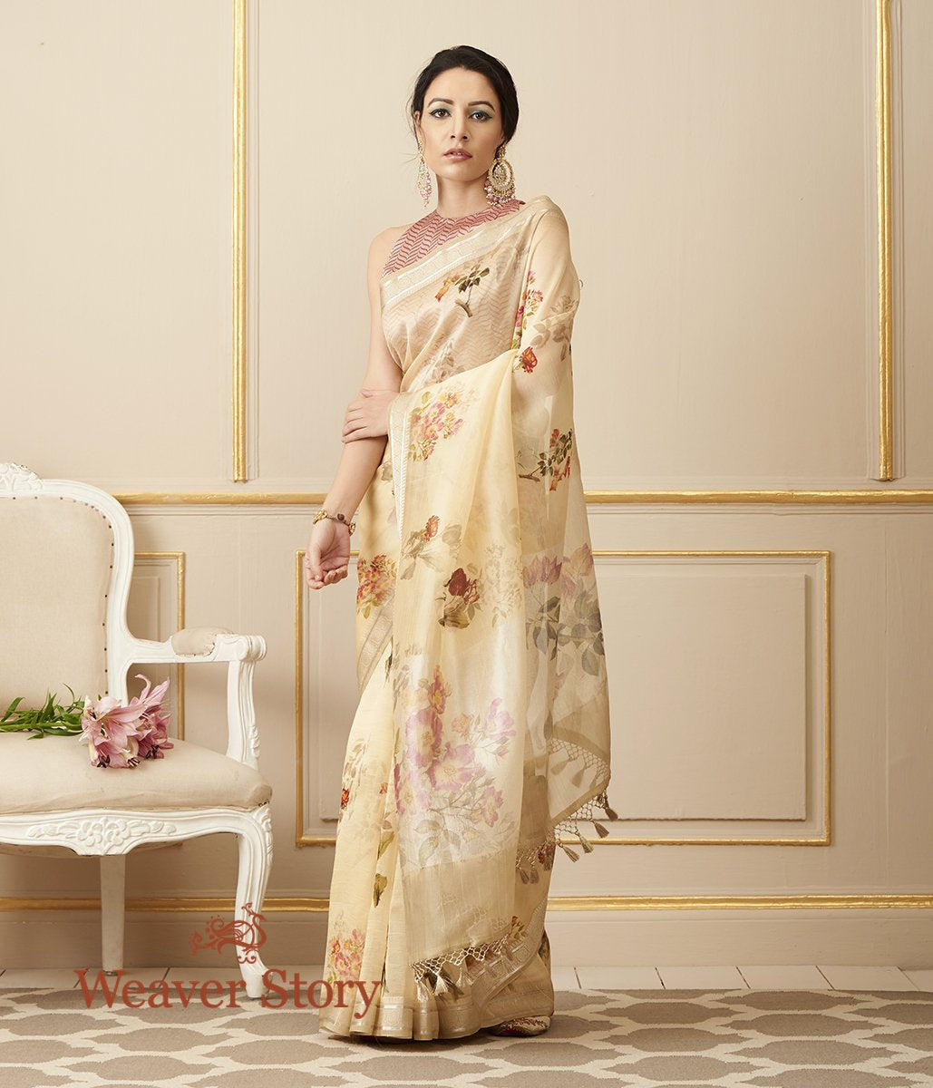 Handwoven Pale Yellow Organza Silk Saree with Digital Print