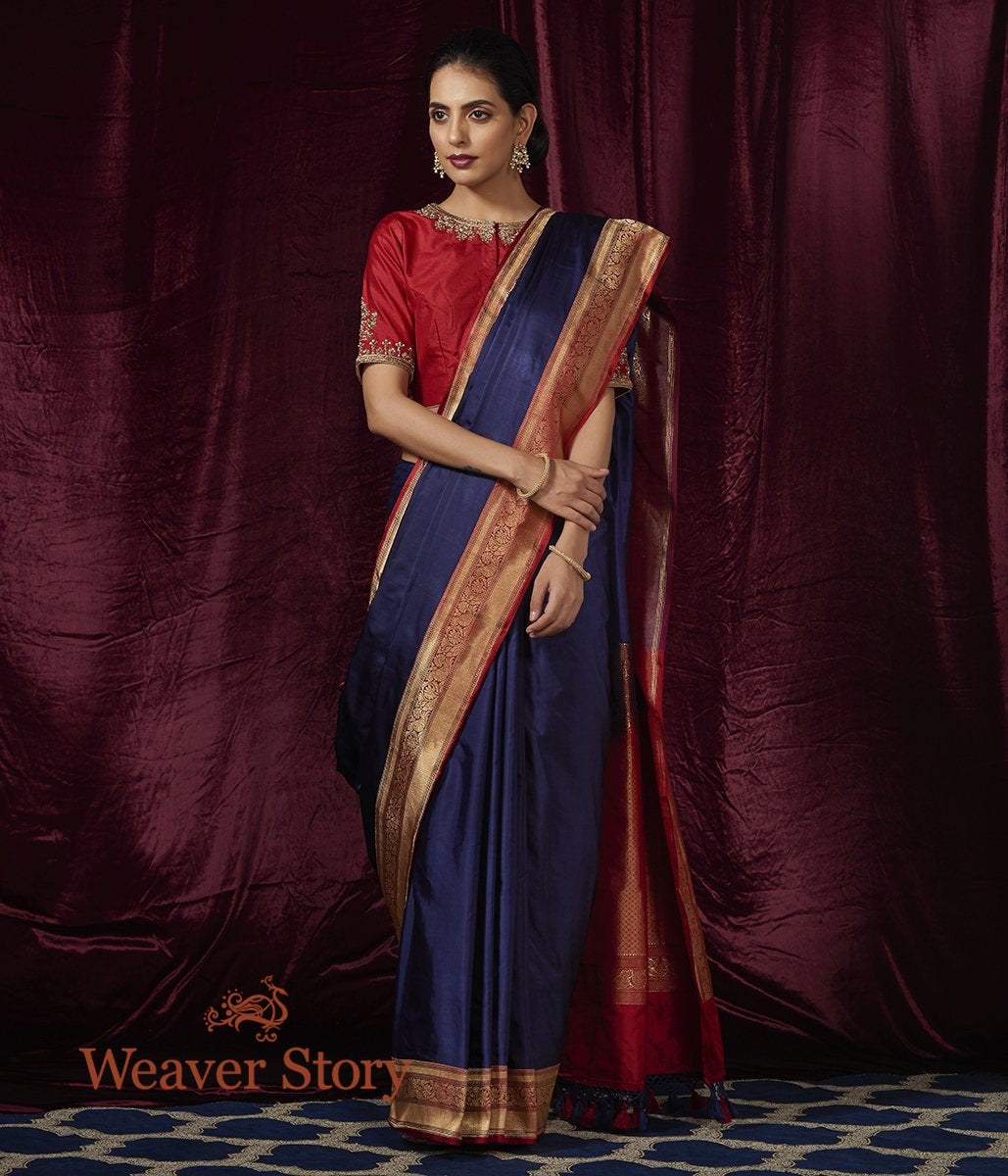 Handwoven Blue Pure Silk Saree with Red Kadhwa Border