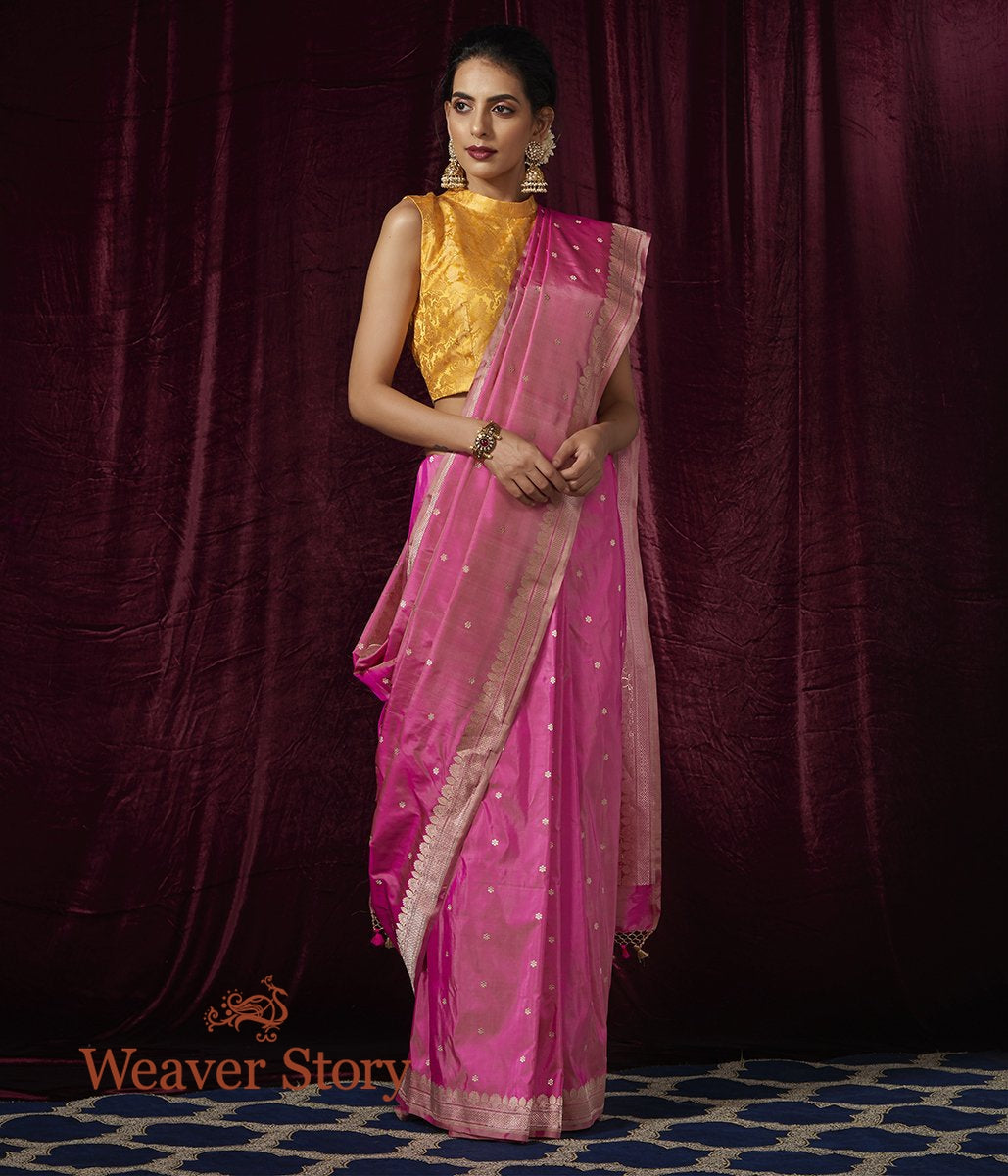 Handwoven Light Pink Small Floral Booti Saree