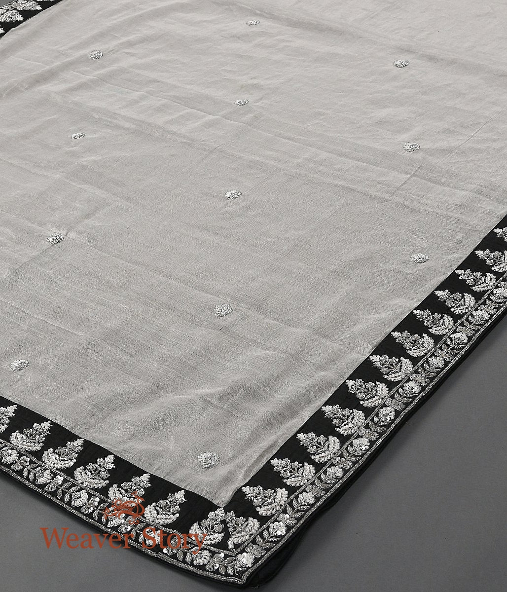 Silver Tissue Zardozi Work Dupatta with Black Border