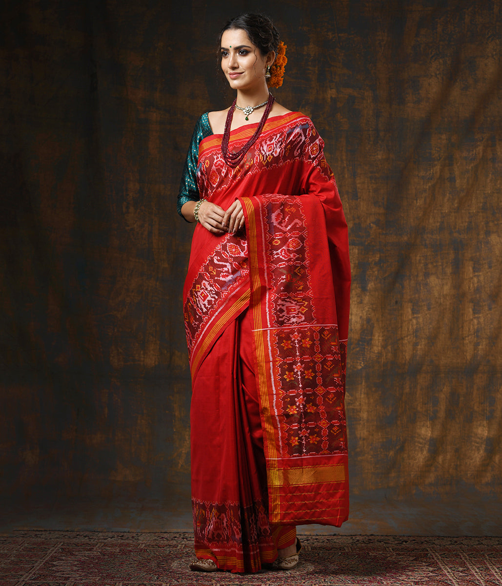 Handwoven Green and Red Gujarat Patola Saree with Elephants