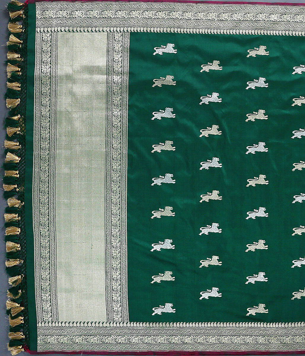 Handwoven Bottle Green Lion Motif Kadhwa Dupatta