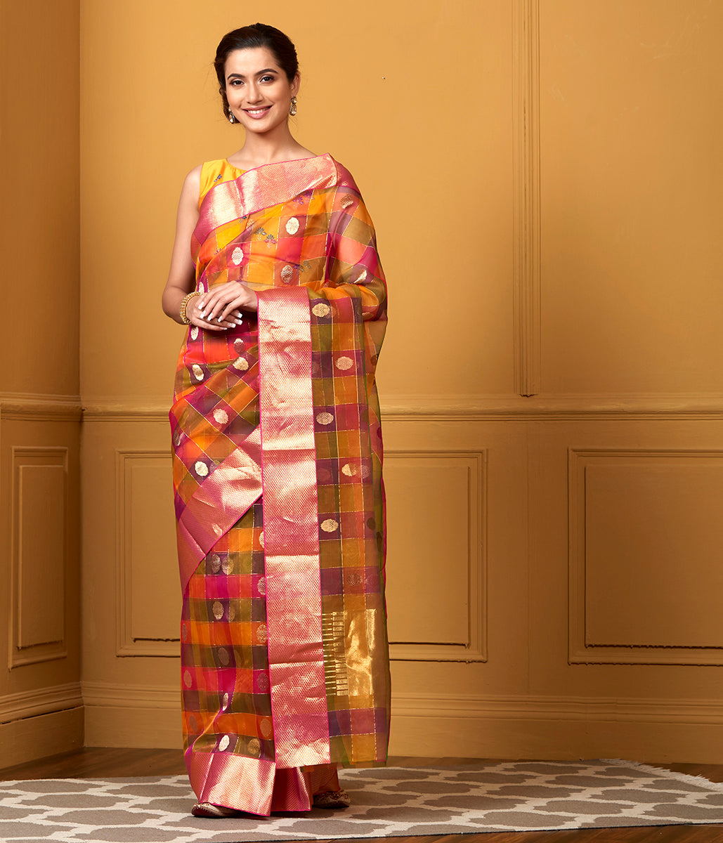 Handwoven Kora Multi Color Checks Saree with Gold Zari Boota