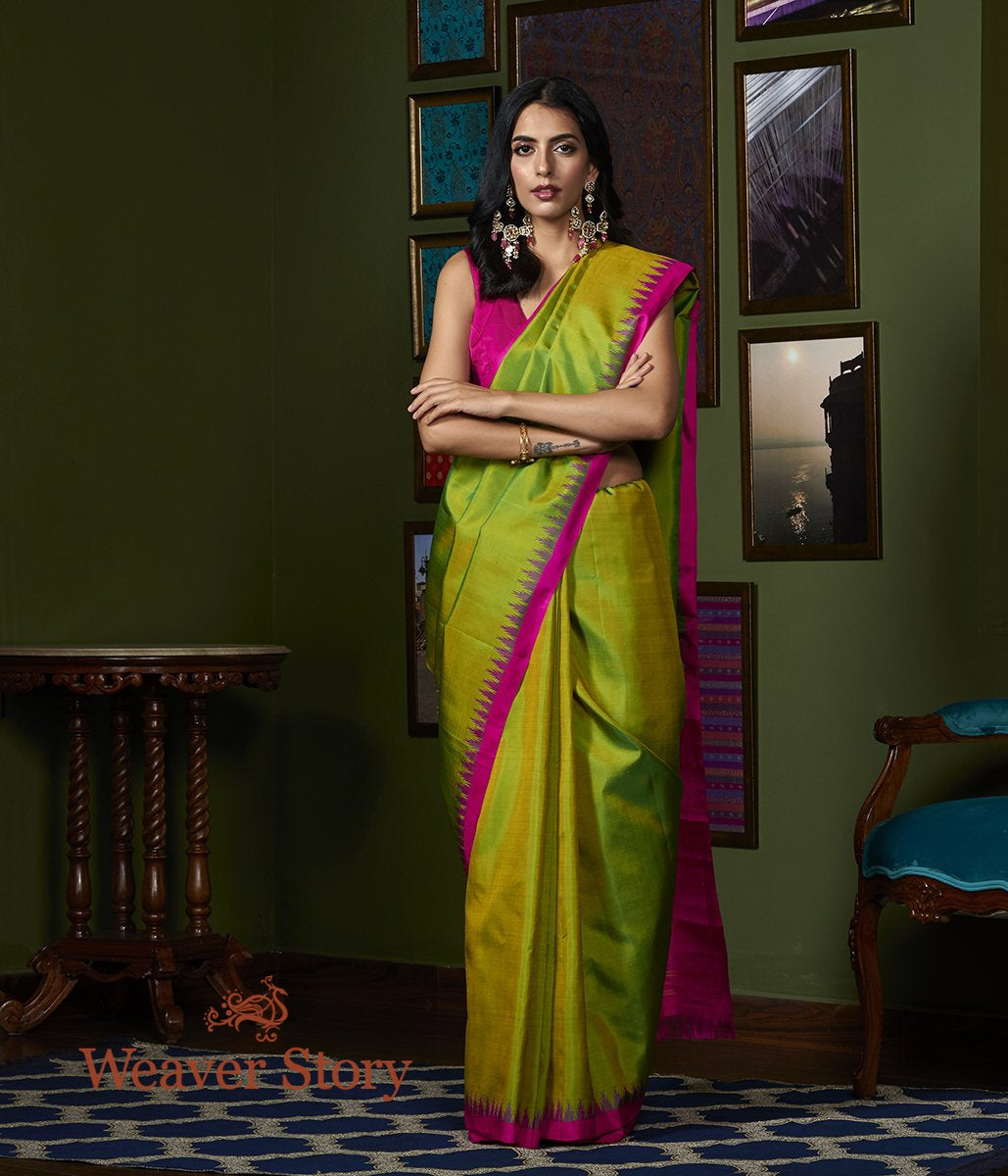 Handwoven Green Kanjivaram Silk Saree with Pink Temple Border