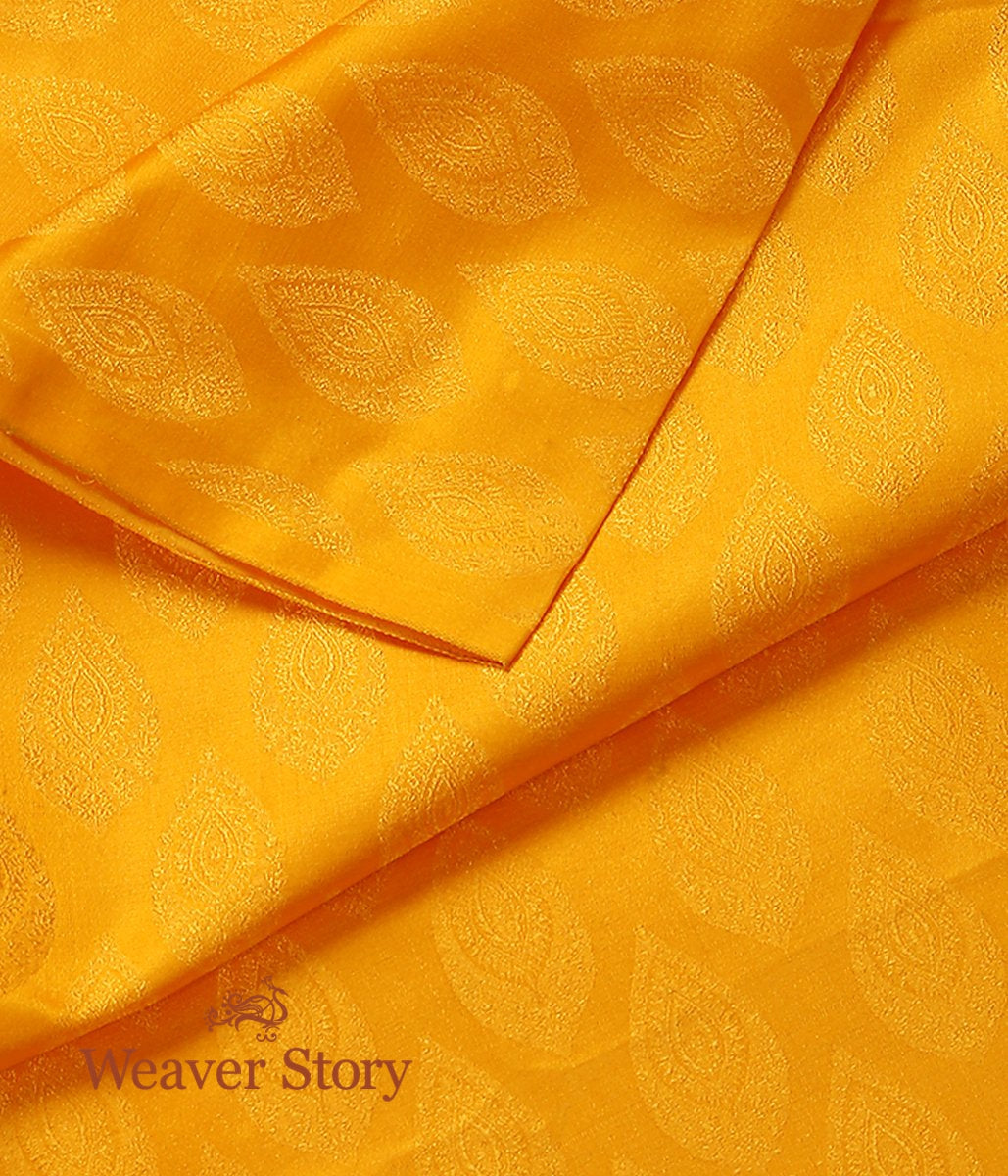 Handwoven Yellow Self Tanchoi Fabric