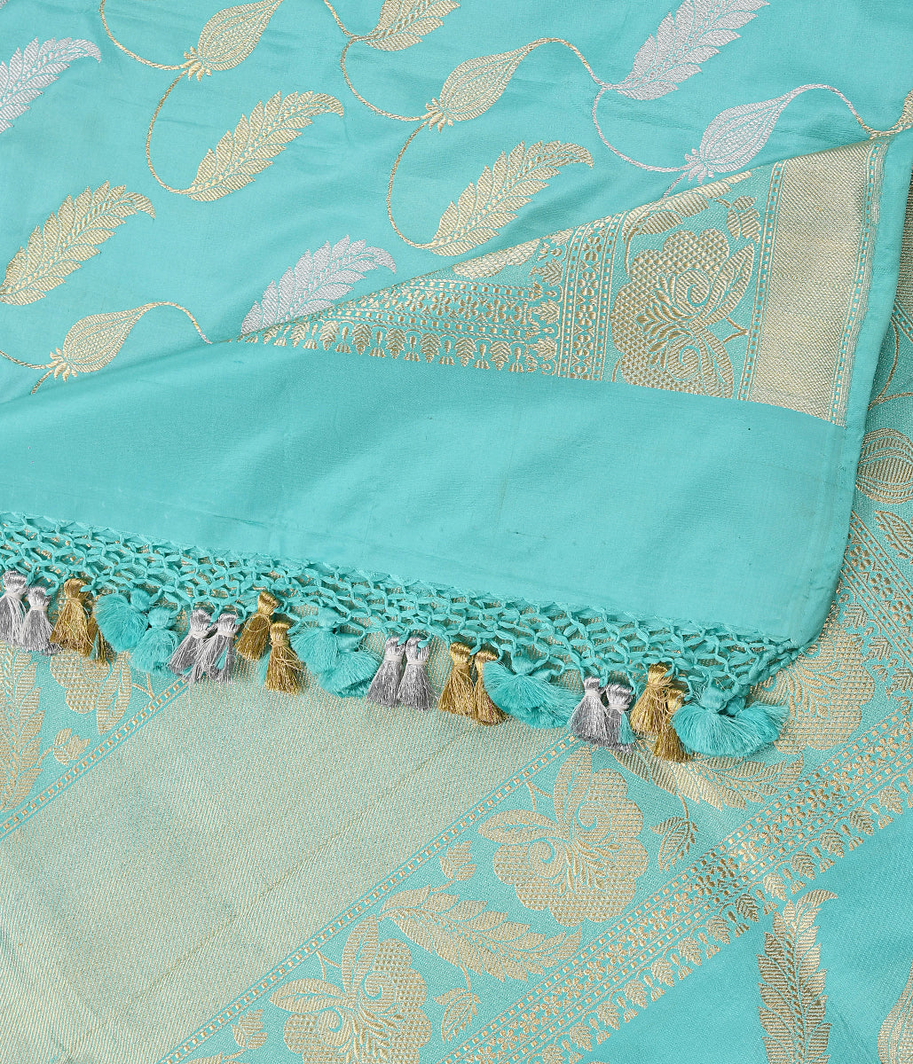 Handwoven Light Blue Banarasi Jangla Dupatta in Kadhwa Weave