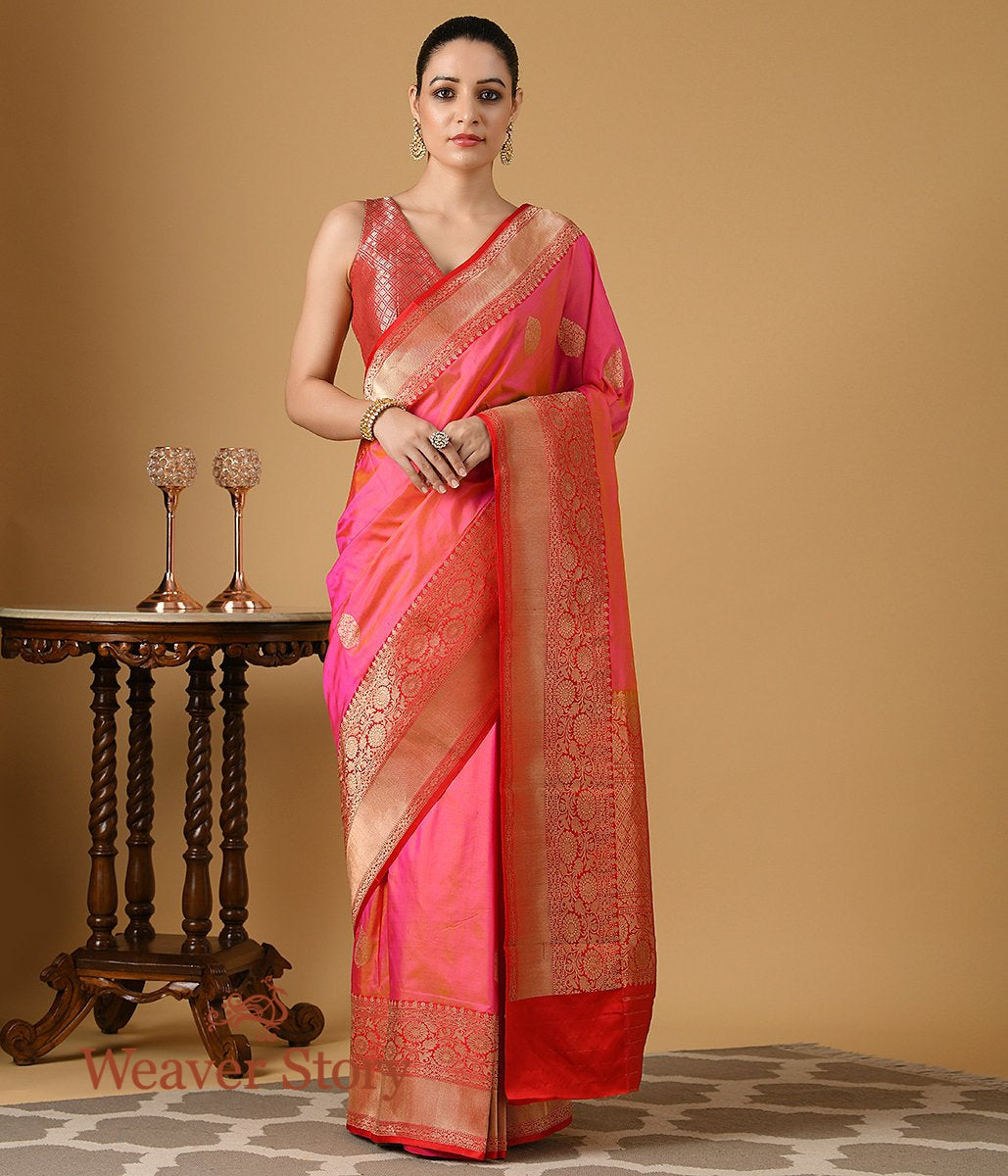 Handwoven Light Pink Banarasi Silk Saree with Red Border and Pallu