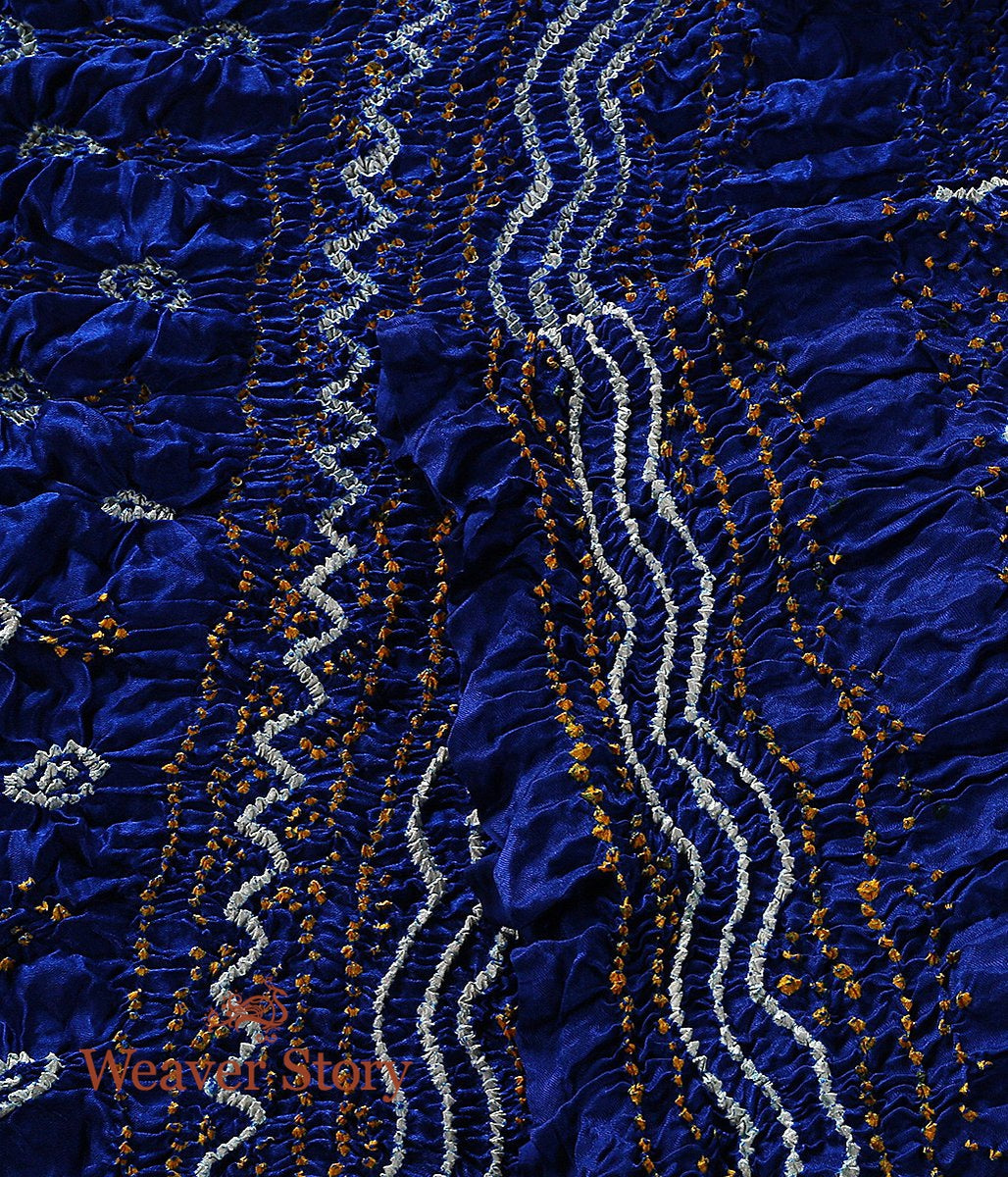 Handwoven Blue Gajji Silk Dupatta with Bandhej