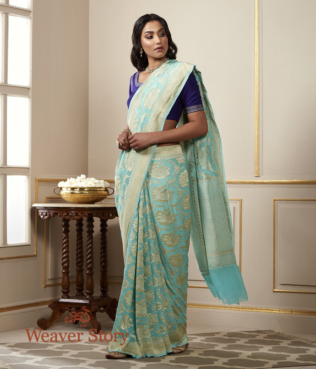 Handwoven Banarasi Sea Green Banarasi Georgette Saree with Floral Jaal