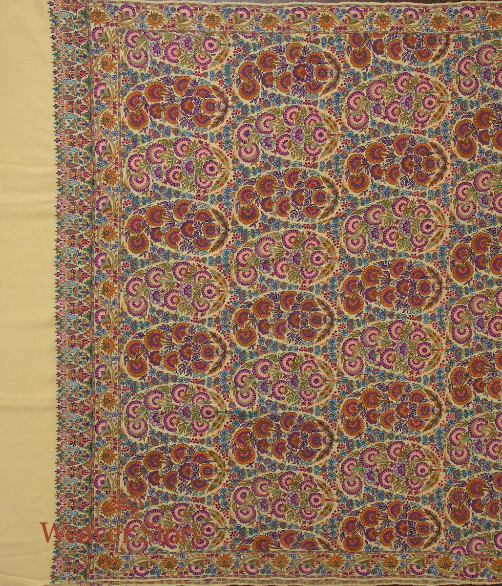 Lemon Yellow Pure Pashmina Shwal with Kalamkari