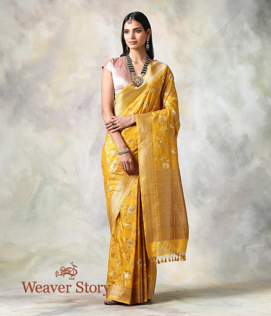 Handwoven Mustard Antique Zari Jaal Saree