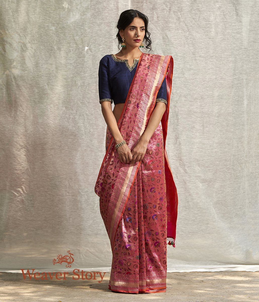 Handwoven Pink All Over Zari Kadhwa Meenakari Jangla Saree
