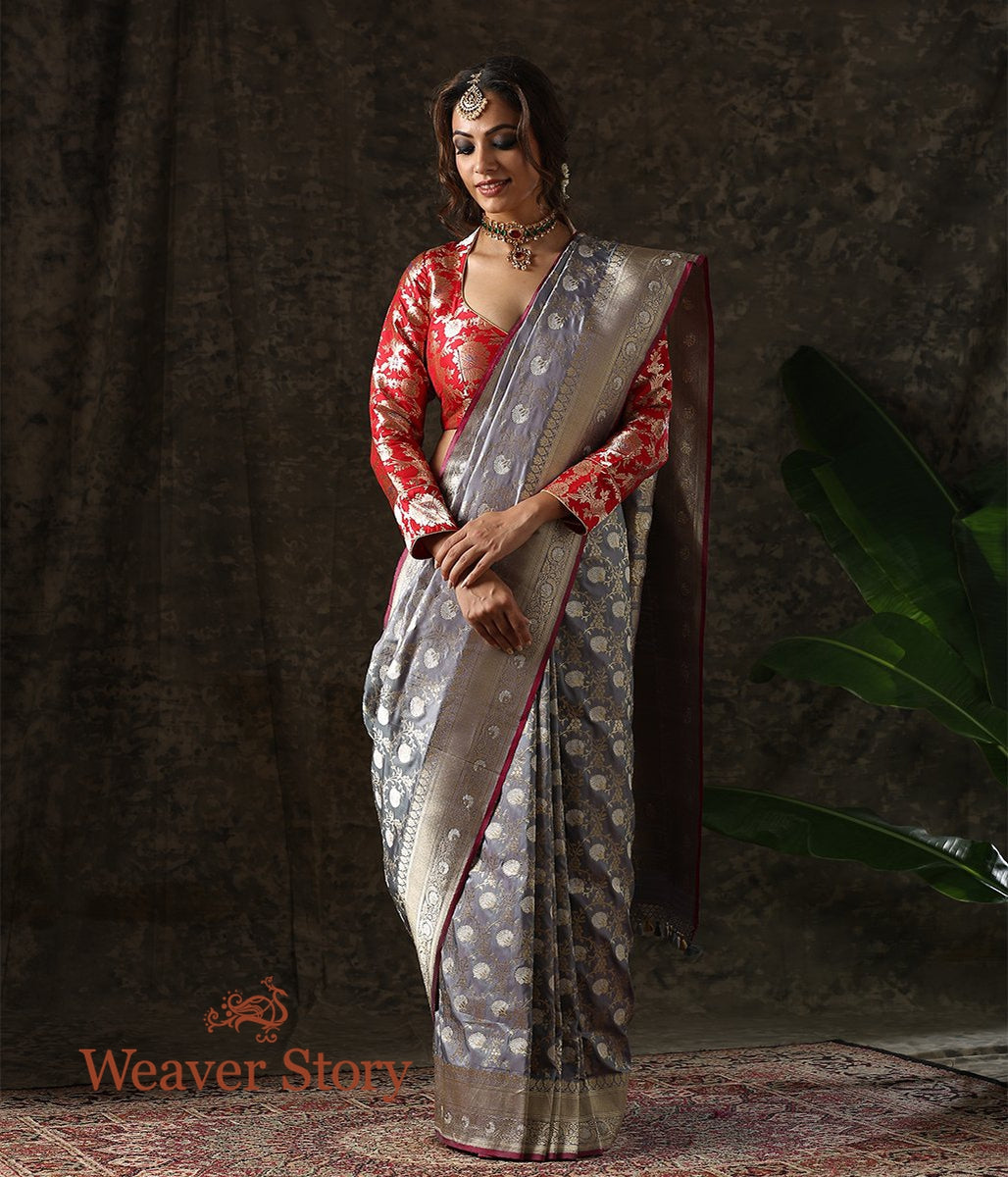 Handwoven Grey Kadhwa Banarasi Saree with Sona Rupa Zari