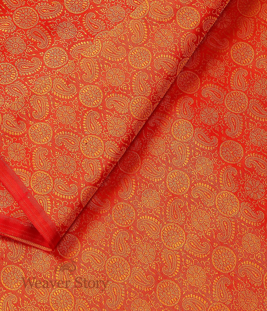 Handwoven Orange and Mustard Self Tanchoi Fabric