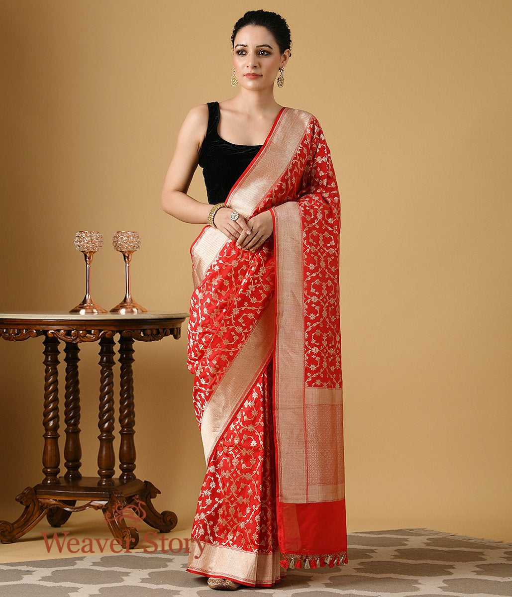 Handwoven Red Katan Silk Banarasi with Gold Zari Jaal