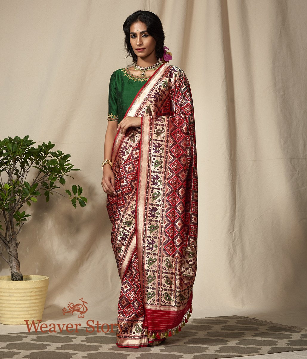 Handwoven Red and Green Meenakari Banarasi Patola Saree