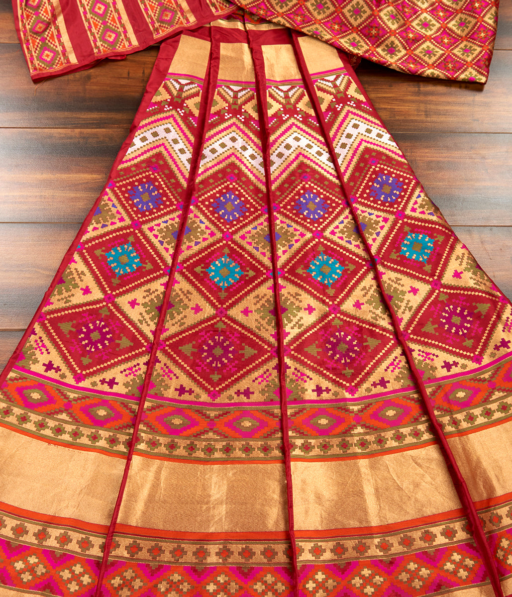 Handwoven Mahroon Patola Lehenga with Meenakari
