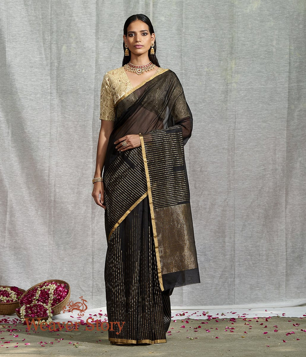 Handwoven Black Merecrised Cotton Silk Saree with Zari Stripes