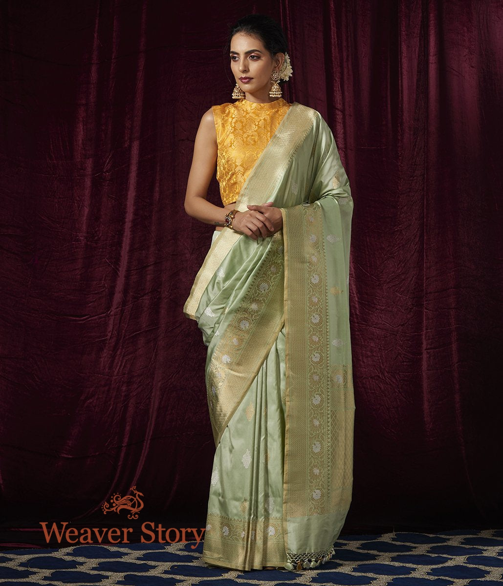 Handwoven Light Green Sona Rupa Kadhwa Booti Saree