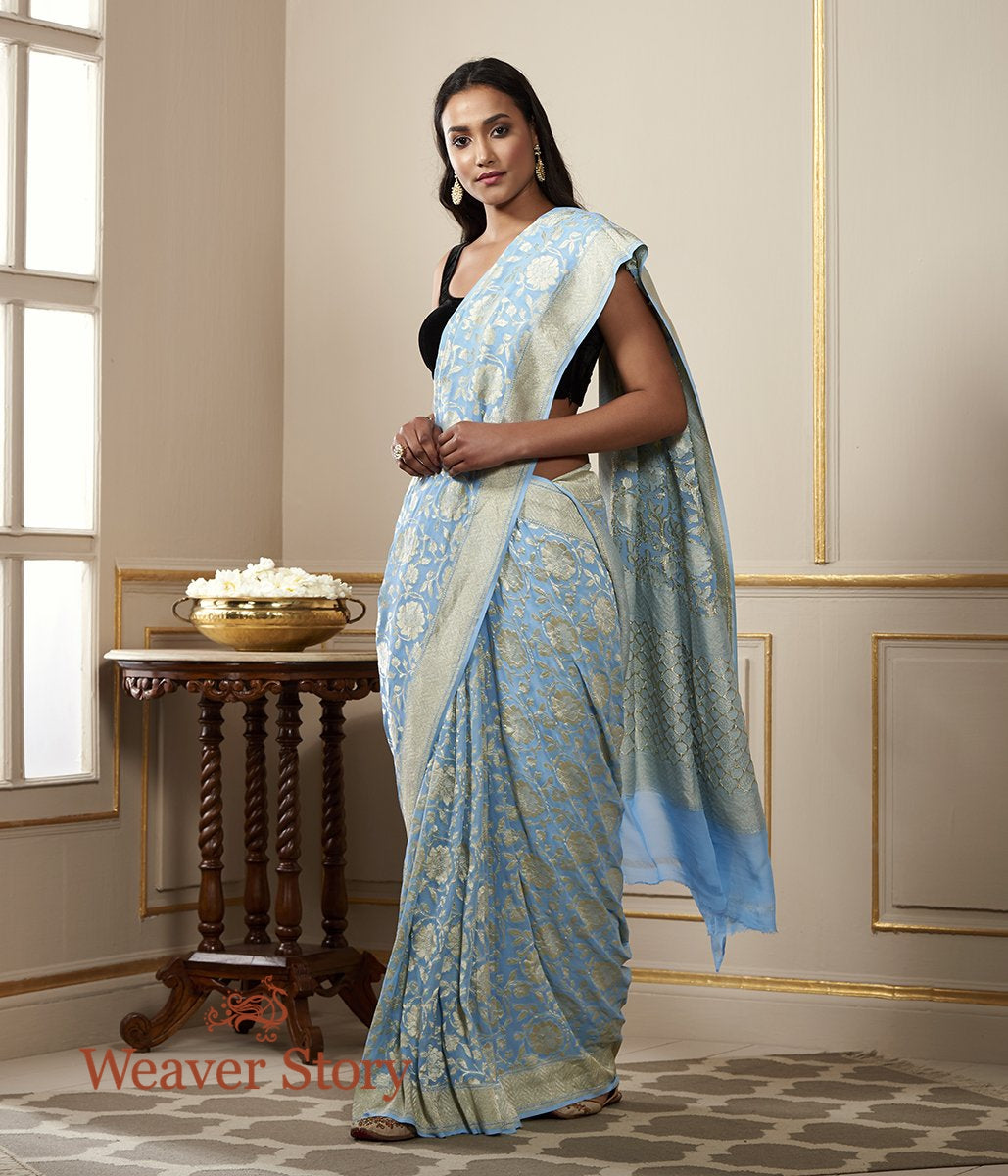 Handwoven Sky Blue Cutwork Jaal Banarasi Georgette Saree