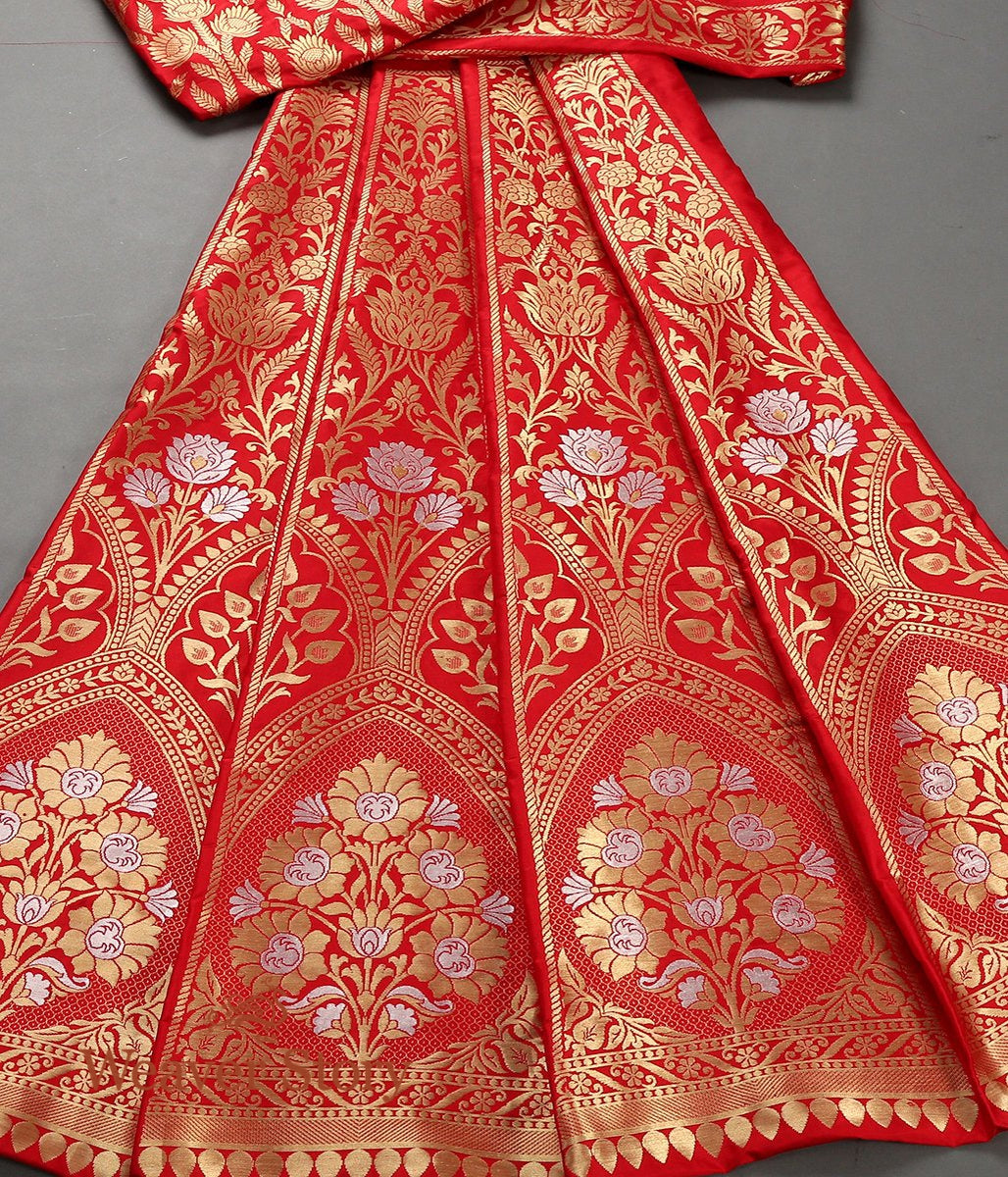 Handwoven Red Banarasi Lehenga with Gold Zari