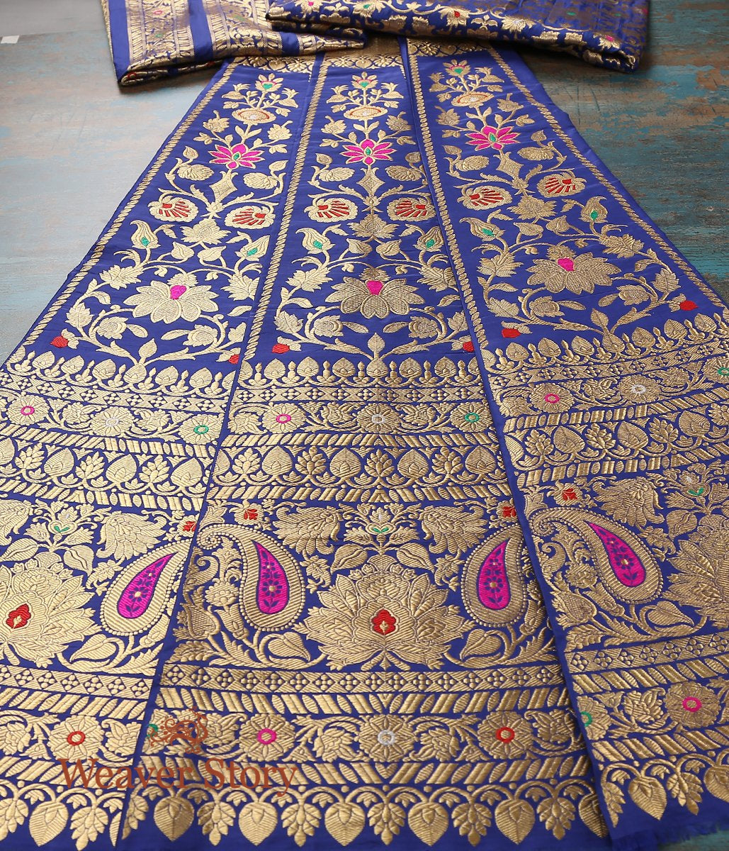 Handwoven Kadhwa Banarasi Lehenga in Blue with Meenakari