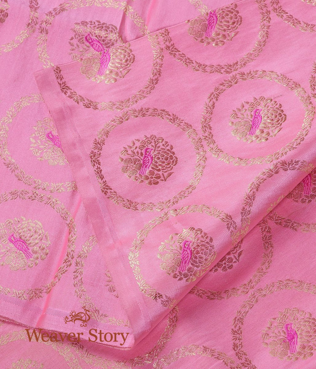 Handwoven Pink Pure Satin Fabric with Bird Motifs