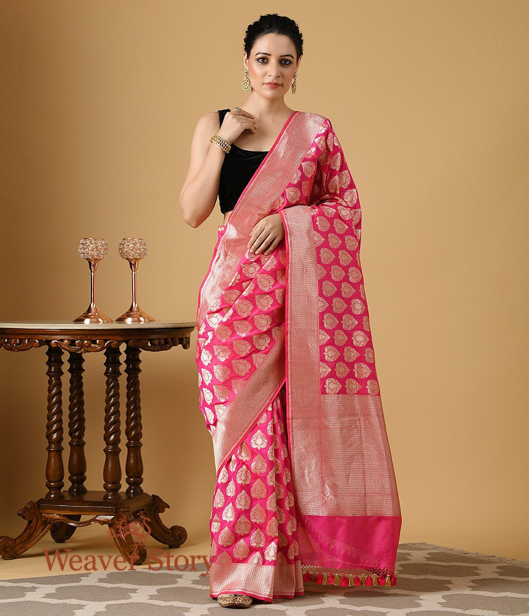 Handwoven Hot Pink Banarasi Silk Saree