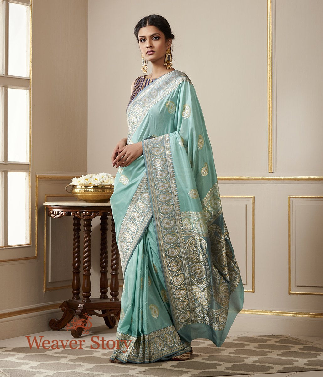 Handwoven Sea Green Silk Kadhwa with Gold Silver Paisley