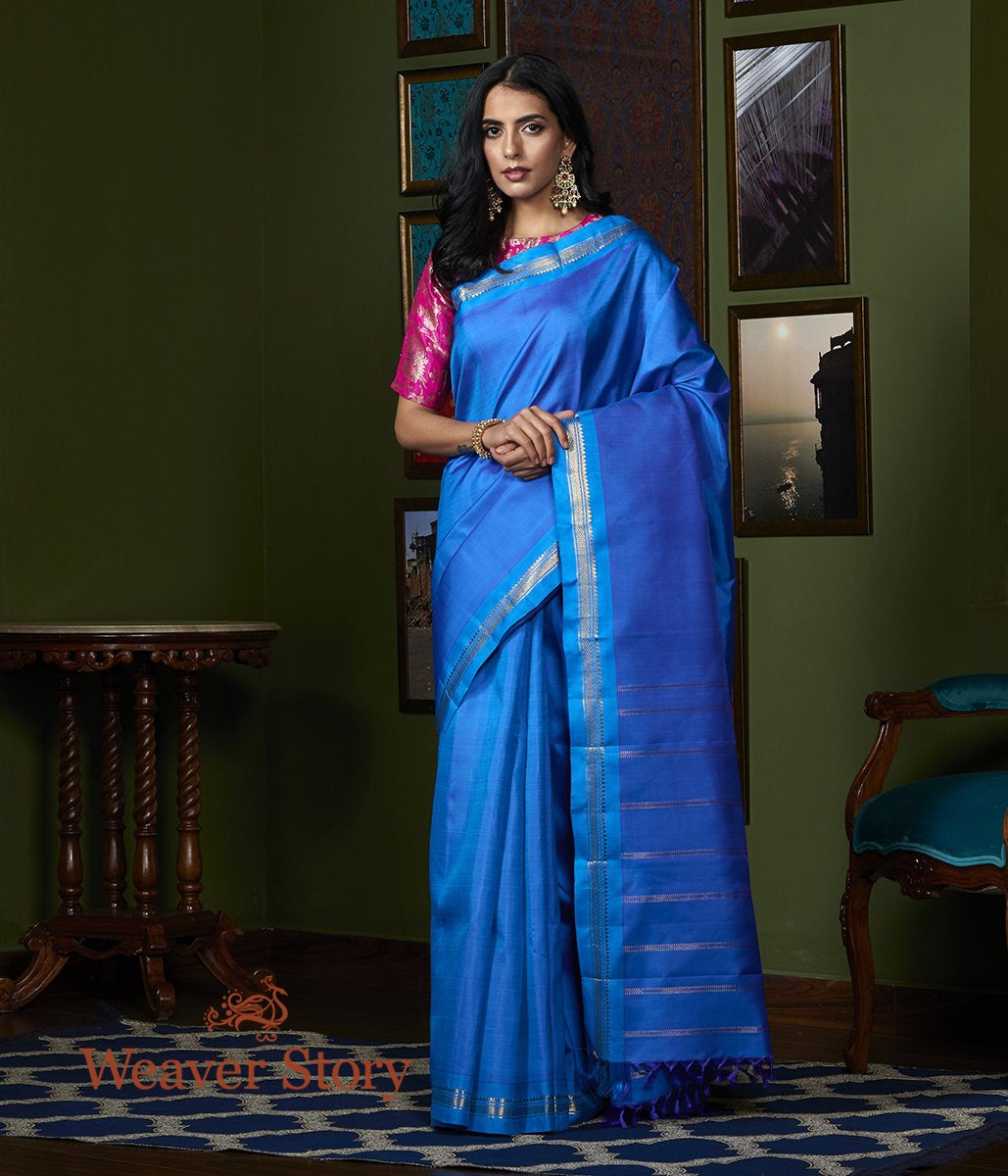Handwoven Cobalt Blue Kanjivaram Silk Saree with Turquoise and Gold Border