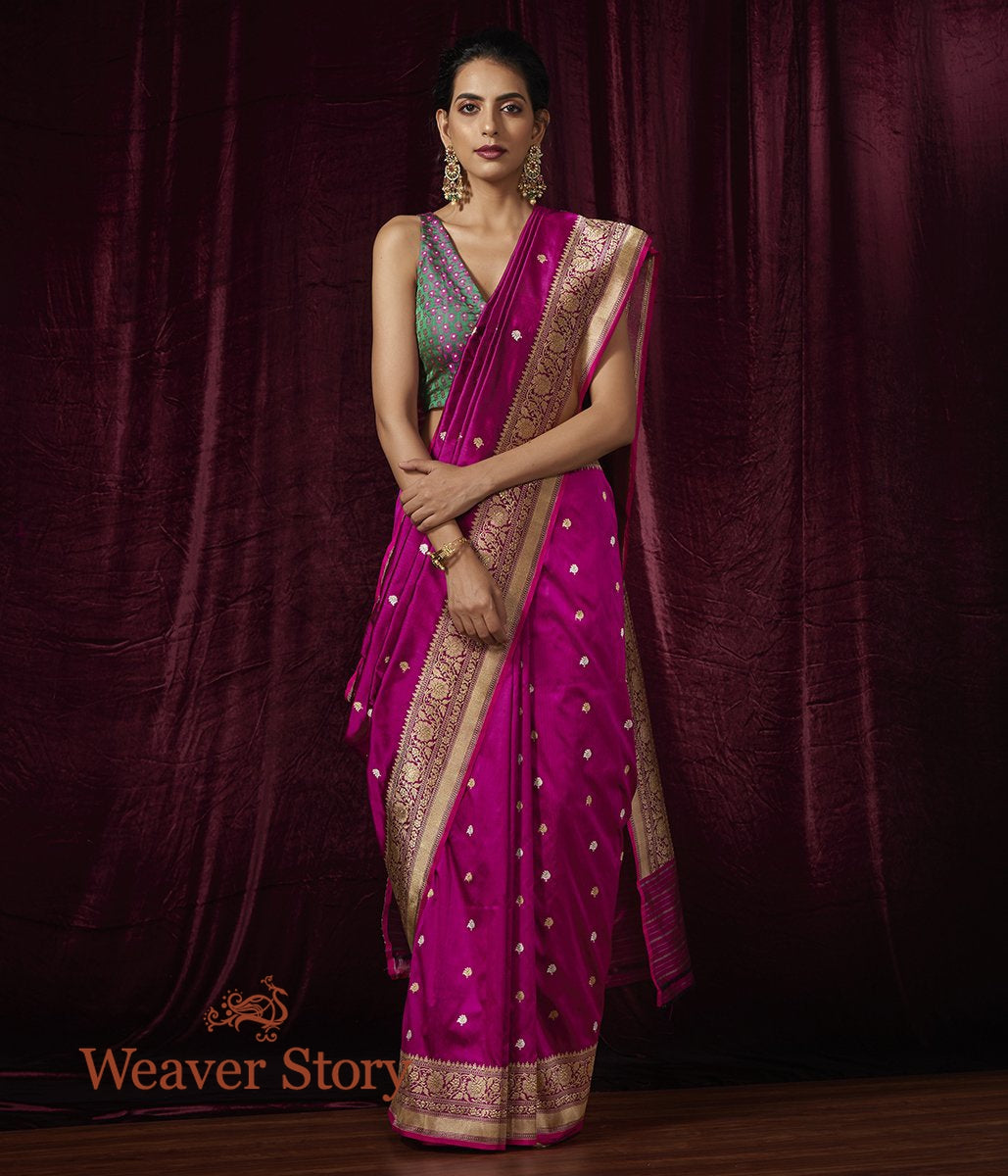 Handwoven Purple Kadhwa Booti Saree with Pink Selvedge