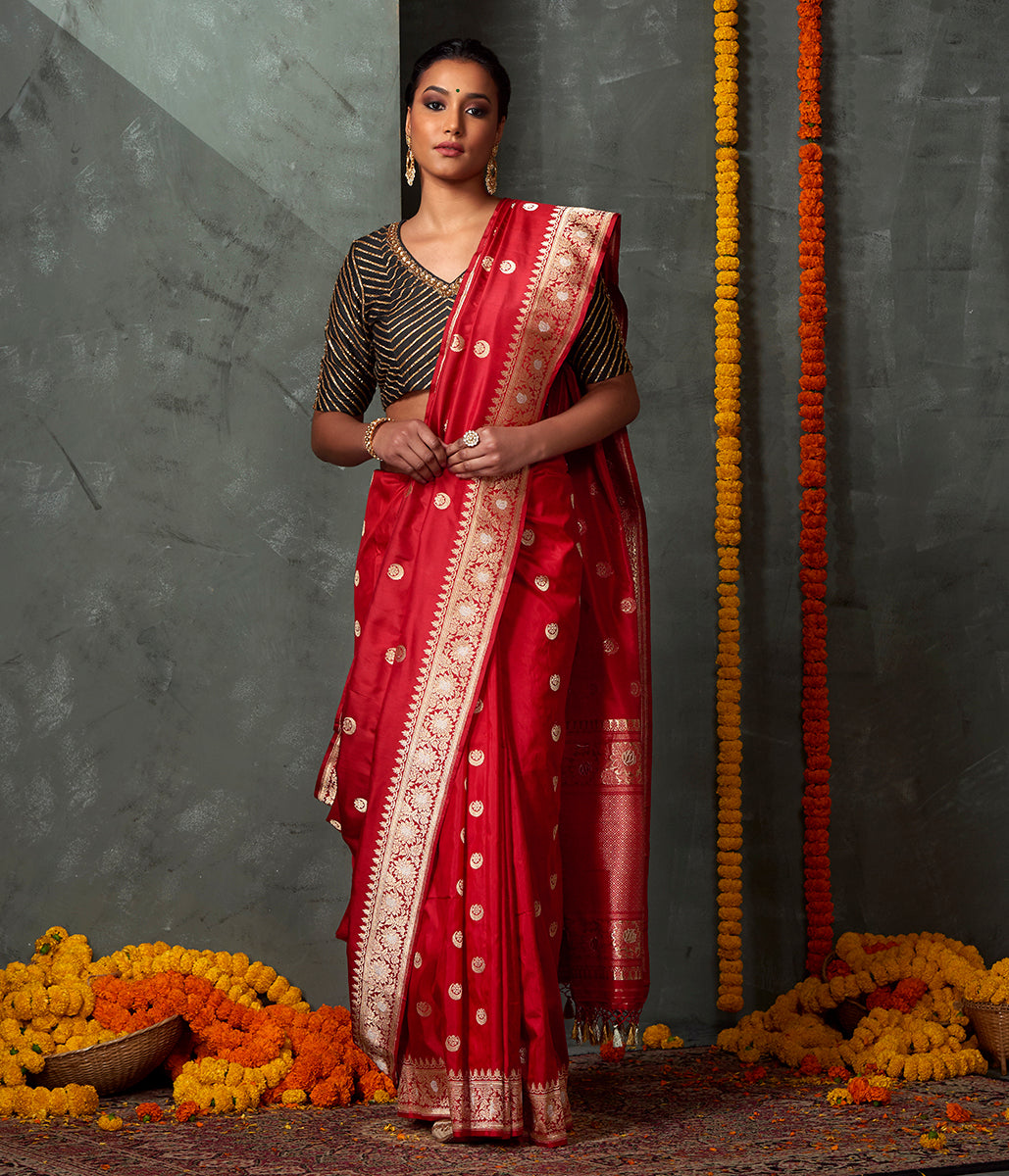 Handwoven Red Chand Boota Saree with Floral Border and Sona Rupa Zari