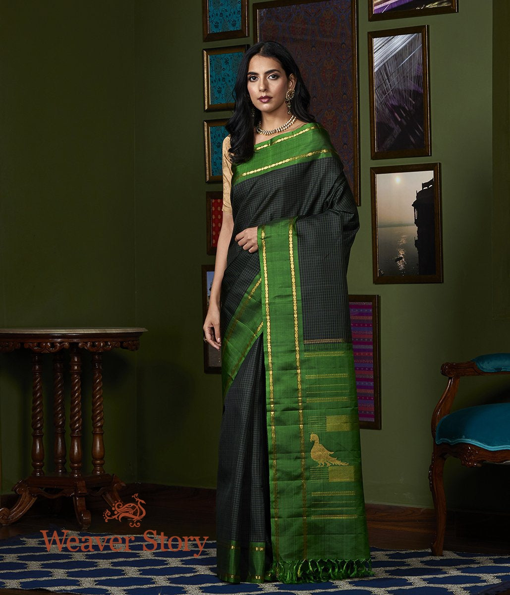 Handwoven Black Kanjivaram Silk Saree with Checks and Green Border and Pallu with Parrots